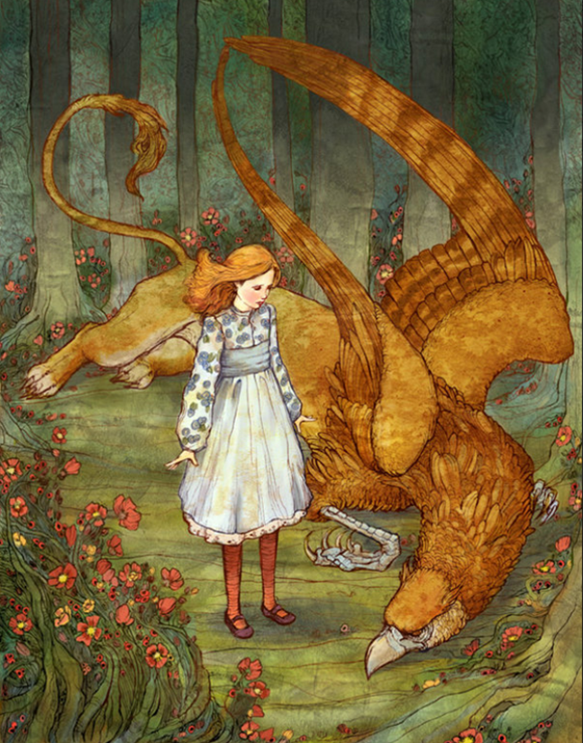 """Alice and the Gryphon"" by Erin Kelso (bluefooted on deviantart)"