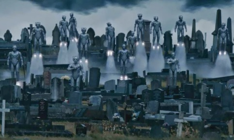 Bodies of dead people implanted with an AI hive-like mind...cybermen!